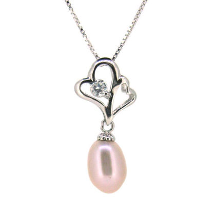 Wholesale Sterling Silver Pink Freshwater Pearl and CZ Stone Heart Pendant Necklace-16""