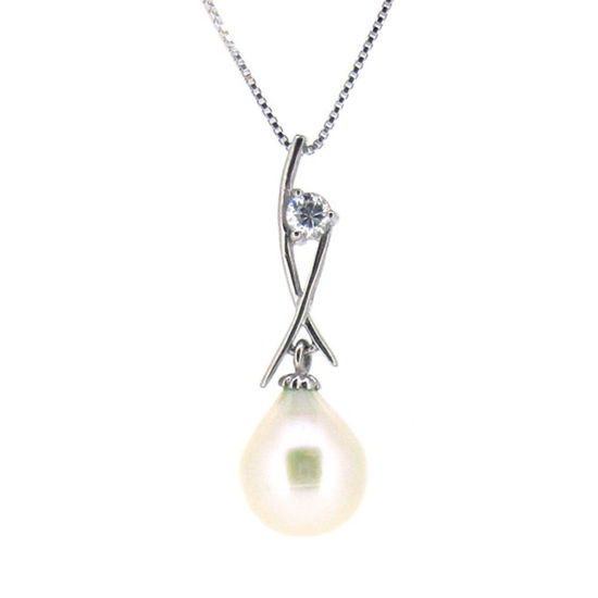 Wholesale Sterling Silver White Freshwater Pearl and CZ Stone Crossed Pendant Necklace-16""