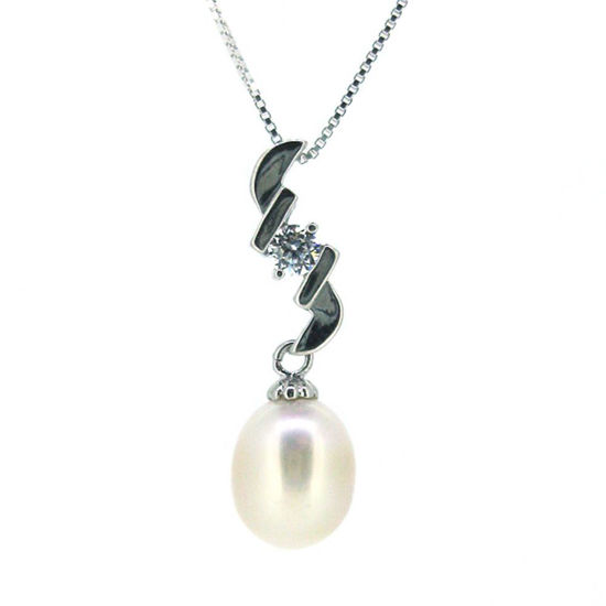 Wholesale Sterling Silver White Freshwater Pearl and CZ Stone Zigzag Pendant Necklace-16""