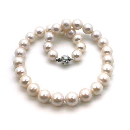 """Wholesale 14K White Gold Clasp and White Freshwater Pearl Graduated Necklace-16"""""""