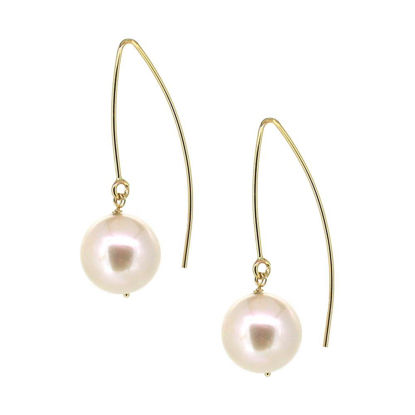 Wholesale 14K Yellow Gold Marquise White Freshwater Pearl Earrings