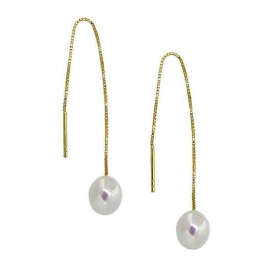 Wholesale Gold Plated Sterling Silver White Freshwater Pearl Threader Earrings
