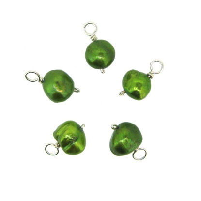 Wholesale Wire Wrapped Dyed Green Round Freshwater Pearl Charm Beads (pack of 5 pcs)