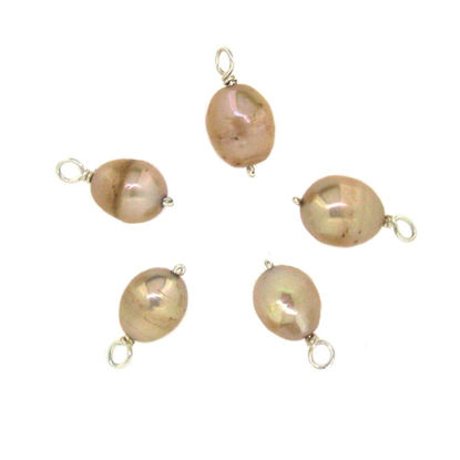 Wholesale Wire Wrapped Dyed Cream Oval Freshwater Pearl Charm Beads (pack of 5 pcs)