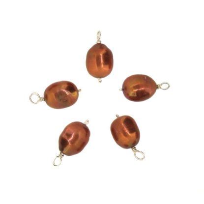 Wholesale Dyed Bronze Freshwater Pearl Beads-Wire Wrapped Bronze Pearl Charms 9-11.5mm (pack of 5 pcs)
