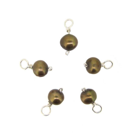 Wholesale Wire Wrapped Dyed Light Brown Round Freshwater Pearl Charms (pack of 5 pcs)
