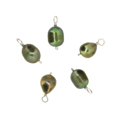 Wholesale Wire Wrapped Dyed Green Oval Freshwater Pearl Charms (pack of 5 pcs)