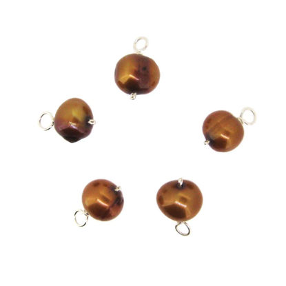 Wholesale Wire Wrapped Dyed Bronze Freshwater Pearl Charm Beads (pack of 5 pcs)
