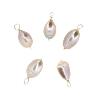 Wholesale Wire Wrapped Pink Oval Freshwater Pearl Charms (pack of 5 pcs)