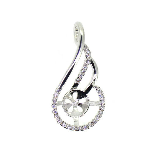 Wholesale Sterling Silver and CZ Stone Fancy Pearl Cup Bail for Half-Drilled Pearls