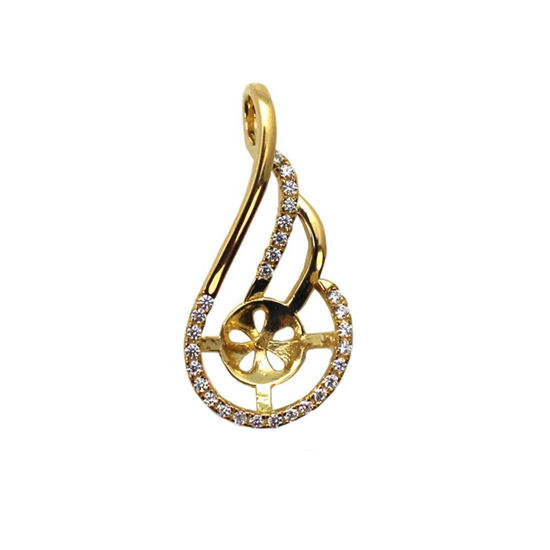 Wholesale Gold Plated Sterling Silver and CZ Stone Fancy Pearl Cup Bail for Half-Drilled Pearls