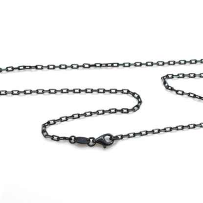 Wholesale Oxidized Sterling Silver Finished Chain - 3.8mm Diamond Cut Box Chain