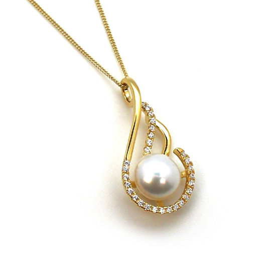 Wholesale Gold Plated Sterling Silver and CZ Stone Fancy Teardrop Pendant with White Freshwater Pearl Necklace-18""