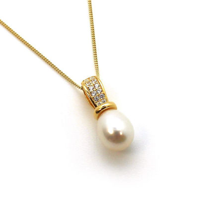 Wholesale Gold Plated Sterling Silver and CZ Stone White Freshwater Pearl Drop Pendant Necklace-18""