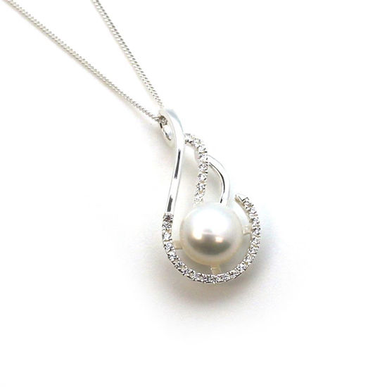 Wholesale Sterling Silver and CZ Stone Fancy Teardrop Pendant with White Freshwater Pearl Necklace-18""
