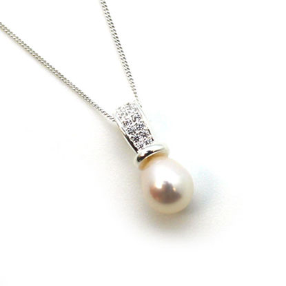 Wholesale Sterling Silver and CZ Stone White Freshwater Pearl Drop Pendant Necklace-18""