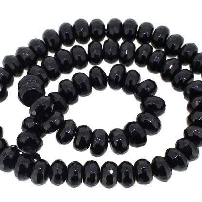 Wholesale Faceted Black Onyx Rondelle Beads (8.5mmx5mm- 20 beads)