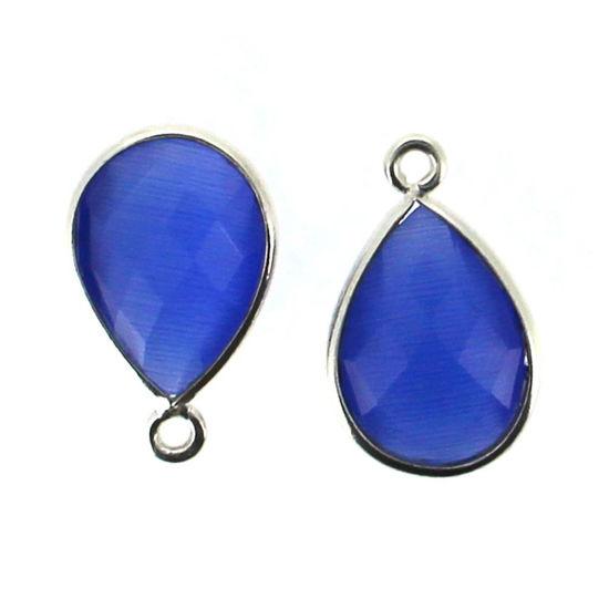 Wholesale Bezel Gemstone Pendant - Sterling Silver Bezel Gemstone 10x14mm Faceted Small Teardrop - Blue Monalisa