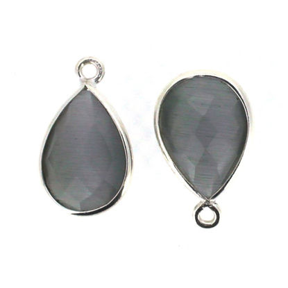 Wholesale Bezel Gemstone Pendant - Sterling Silver Bezel Gemstone 10x14mm Faceted Small Teardrop - Grey Monalisa