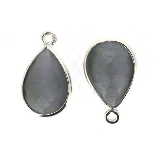 Wholesale Bezel Gemstone Pendant - Sterling Silver Bezel Gemstone 10x14mm Faceted Small Teardrop - Grey Monalisa