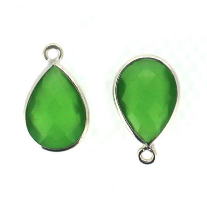Wholesale Bezel Gemstone Pendant - Sterling Silver Bezel Gemstone 10x14mm Faceted Small Teardrop - Green Monalisa
