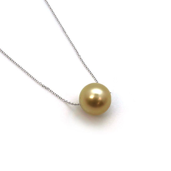 Wholesale 14K White Gold Golden South Sea Floating Pearl Necklace - 16""