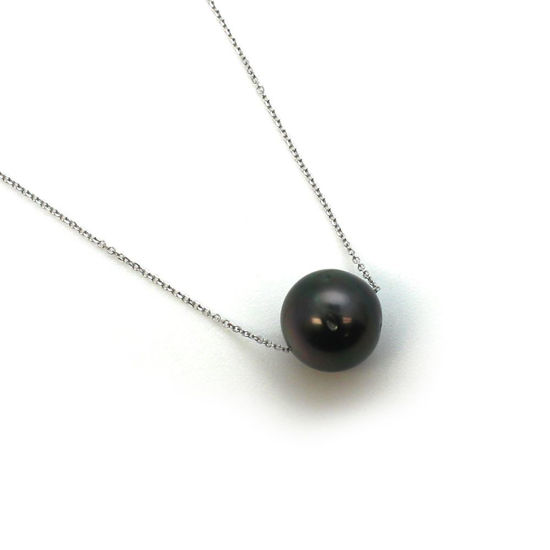 """Wholesale 14K White Gold Tahitian Floating Pearl Necklace - 16"""""""