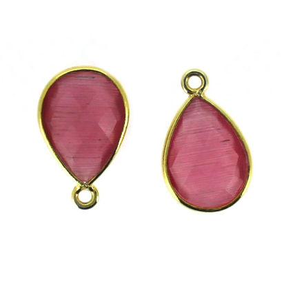 Wholesale Bezel Gemstone Pendant - Gold Plated Sterling Silver Gemstone 10x14mm Faceted Small Teardrop - Pink Monalisa