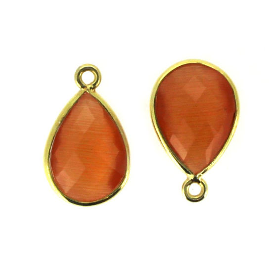 Wholesale Bezel Gemstone Pendant - Gold Plated Sterling Silver Gemstone 10x14mm Faceted Small Teardrop - Orange Monalisa