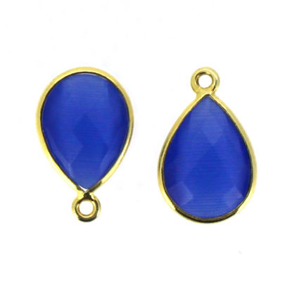 Wholesale Bezel Gemstone Pendant - Gold Plated Sterling Silver Gemstone 10x14mm Faceted Small Teardrop - Blue Monalisa