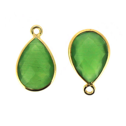 Wholesale Bezel Gemstone Pendant - Gold Plated Sterling Silver Gemstone 10x14mm Faceted Small Teardrop - Green Monalisa