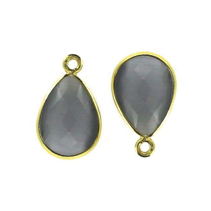 Wholesale Bezel Gemstone Pendant - Gold Plated Sterling Silver Gemstone 10x14mm Faceted Small Teardrop - Grey Monalisa