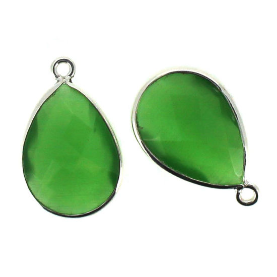 Wholesale Sterling Silver Teardrop Bezel Green Monalisa Gemstone Pendant, Wholesale Gemstone Pendants for Jewelry Making