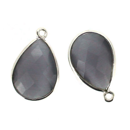 Wholesale Sterling Silver Bezel Gemstone Pendant - 13x18mm Faceted Pear - Grey Monalisa