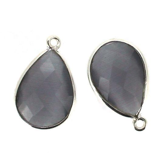Wholesale Sterling Silver Teardrop Bezel Grey Monalisa Gemstone Pendant, Wholesale Gemstone Pendants for Jewelry Making