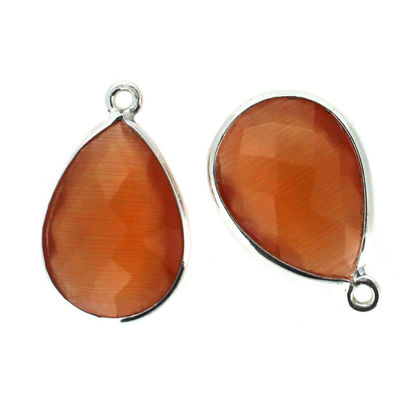 Wholesale Sterling Silver Teardrop Bezel Orange Monalisa Gemstone Pendant, Wholesale Gemstone Pendants for Jewelry Making