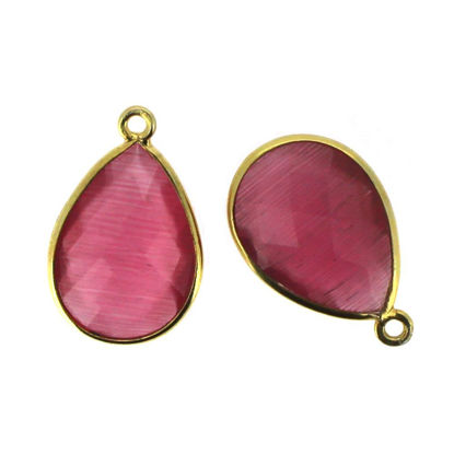 Wholesale Gold Over Sterling Silver Bezel Gemstone Pendant - 13x18mm Faceted Pear Shape - Pink Monalisa