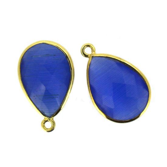 Wholesale Gold plated Sterling Silver Teardrop Blue Monalisa Bezel Gemstone Pendant, Wholesale Gemstone Pendants for Jewelry Making