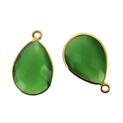 Wholesale Gold plated Sterling Silver Teardrop Green Monalisa Bezel Gemstone Pendant, Wholesale Gemstone Pendants for Jewelry Making