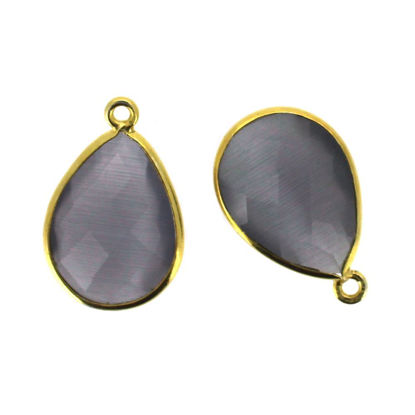 Wholesale Gold plated Sterling Silver Teardrop Grey Monalisa Bezel Gemstone Pendant, Wholesale Gemstone Pendants for Jewelry Making