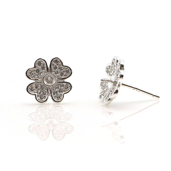 Wholesale Sterling Silver CZ Stone Flower Bridal Stud Earrings for Pearls - 11mm (1 pair)