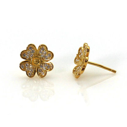 Wholesale Gold Plated Sterling Silver Flower Earwire for Jewelry Making, Wholesale Earwire and Findings