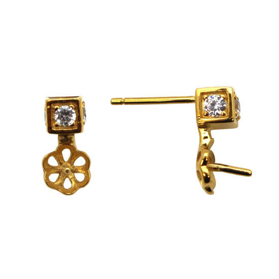 Wholesale Gold Over Sterling Silver Square CZ Stone Studs with Drop Pearl Cup and Peg (1 pair)