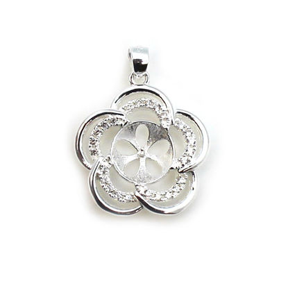 Wholesale Sterling Silver and CZ Stone Fancy Flower Pearl Cup Bail for Half-Drilled Pearls