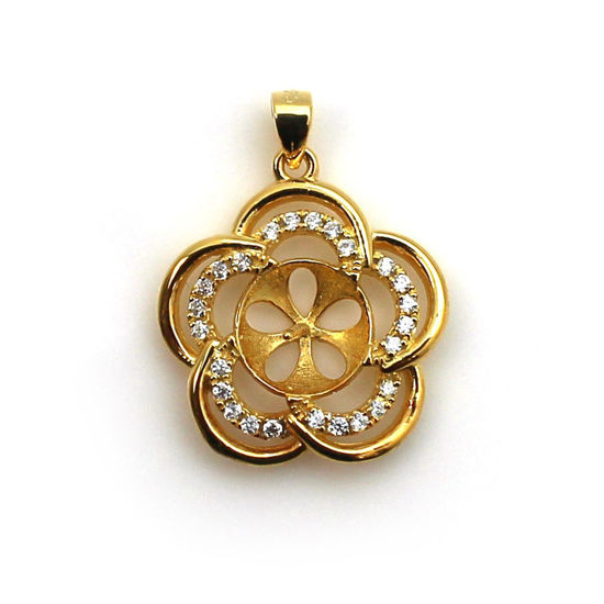 Wholesale Gold Plated Sterling Silver and CZ Stone Fancy Flower Pearl Cup Bail for Half-Drilled Pearls