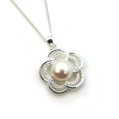 Wholesale Sterling Silver and CZ Stone White Freshwater Pearl Flower Pendant Necklace-18""