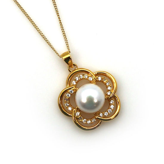 Wholesale Gold Plated Sterling Silver and CZ Stone White Freshwater Pearl Flower Pendant Necklace-18""