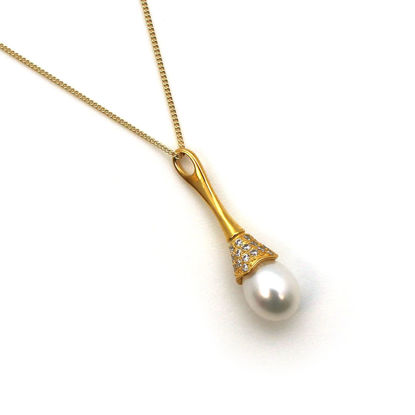 """Wholesale Gold Plated Sterling Silver and CZ Stone White Freshwater Pearl Long Decorated Bell Pendant Necklace-18"""""""