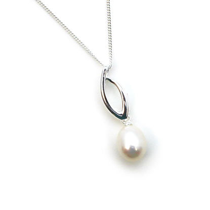 Wholesale Sterling Silver Flame Pendant with White Freshwater Pearl Necklace-18""