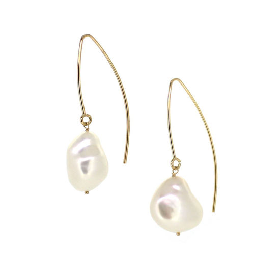 Wholesale 14K Yellow Gold Marquise White Baroque Freshwater Pearl Earrings